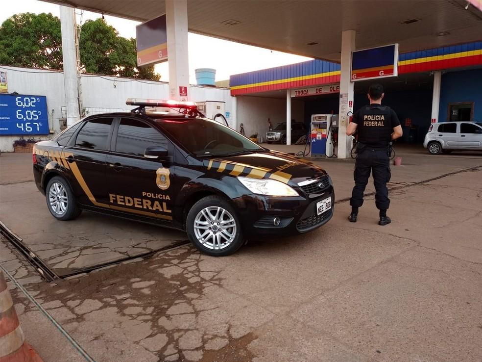 Parte do patrimônio da organização criminosa ficava em postos de combustíveis — Foto: PF/Divulgação