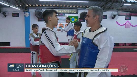 Filho segue passos do pai nove vezes campeão brasileiro para conseguir sucesso no taekwondo