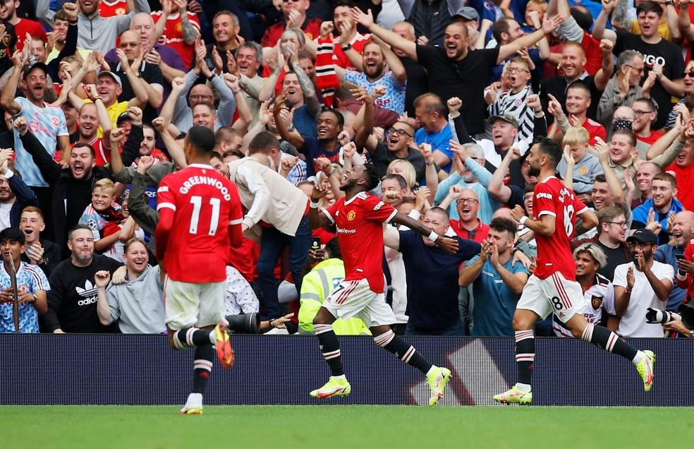 Fred celebra gol pelo Manchester United diante do Leeds — Foto: REUTERS