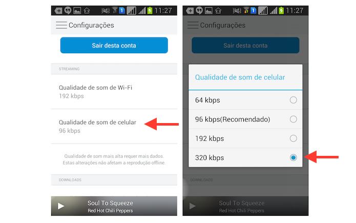 Configurando a qualidade máxima do streaming do Rdio via dados do celular no Android (Foto: Reprodução/Marvin Costa)