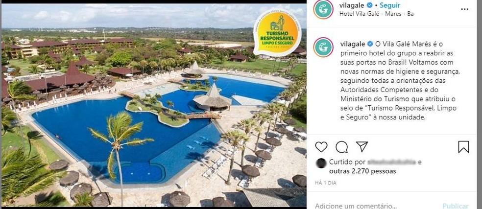 Hotel Vila Galé anuncia retomada das atividades — Foto: Reprodução