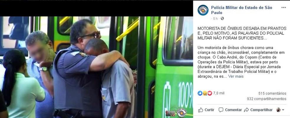Polícia Militar compartilhar a imagem do abraço nas redes sociais — Foto: Facebook/ reprodução