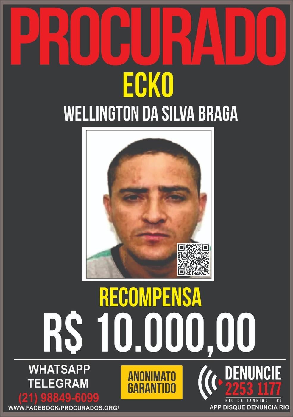 Wellington da Silva Braga, o Ecko, é apontado como chefe da maior milícia do Rio — Foto: Reprodução