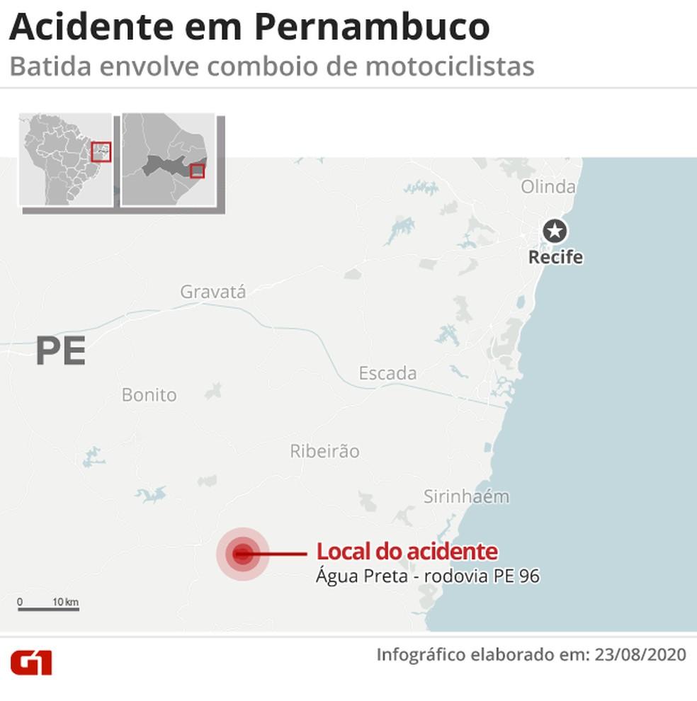 Acidente deixou três mortos e vários feridos na PE-96, em Água Preta — Foto: Arte G1