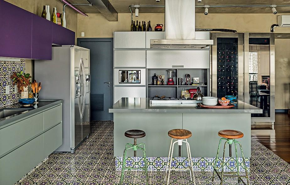 Bancada banqueta dupla imbat vel na cozinha casa e for Pintura estilo industrial