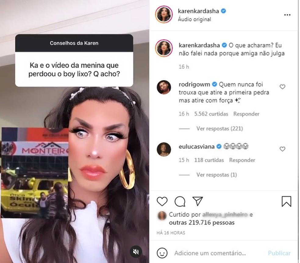 Influencer Karen Kardasha compartilhou o vídeo em página da Internet — Foto: Reprodução/Redes sociais