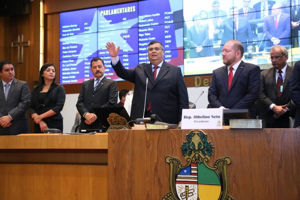 Flávio Dino (PCdoB) toma posse como governador do Maranhão — Foto: Gilson Teixeira / Secap