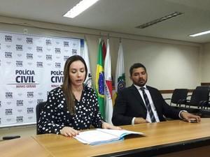 Delegada Karine Maia e o delegado Regional Juradnr Rodrigues (Foto: Michelly Oda/G1)
