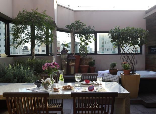 Em exatos 22 m², a paisagista Claudia Muñoz criou um jardim multiuso para o casal de moradores nesta cobertura na Vila Mariana, em são Paulo. Como fica no 16º andar do prédio, altura obrigatoriamente fechada por paredes, a área foi preenchida nas laterais (Foto: Renato Corradi / Editora Globo)