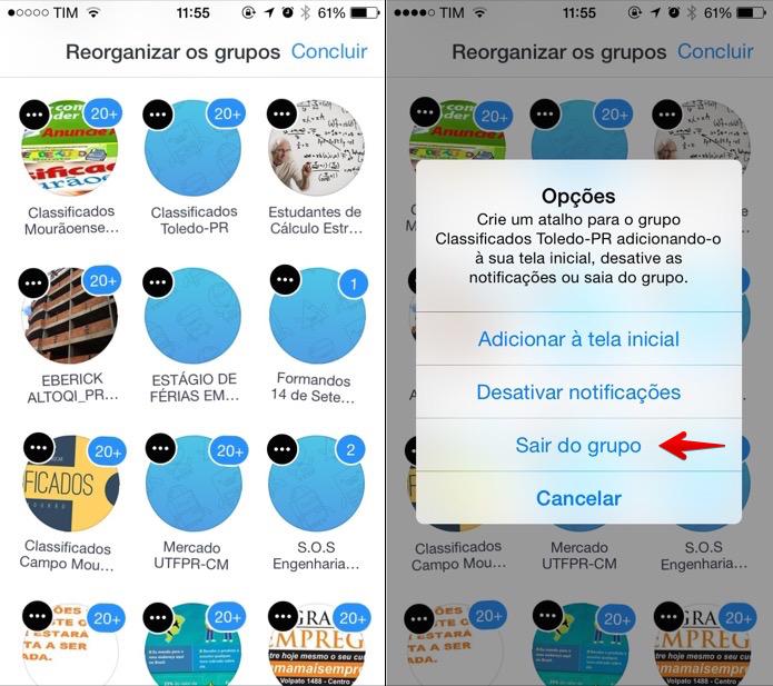 Atalho para sair de um grupo no aplicativo (Foto: Reprodução/Helito Bijora)
