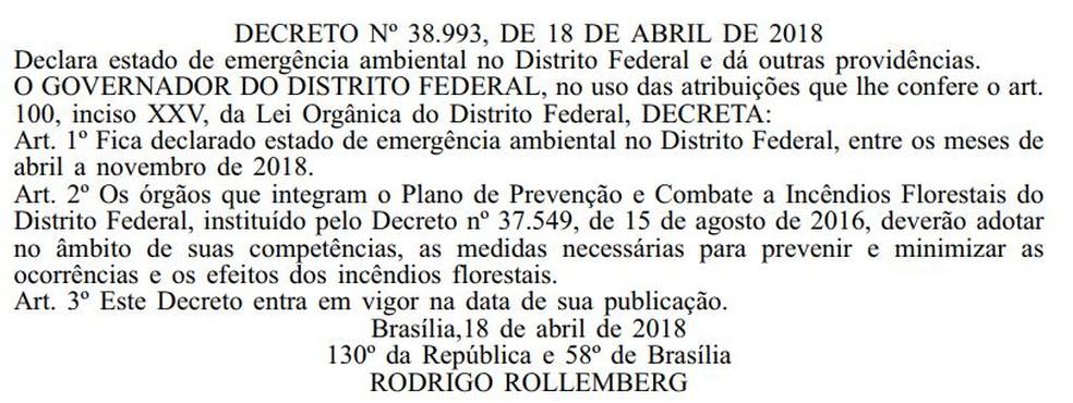 Texto publicado no Diário Oficial que instaura estado de emergência no DF (Foto: Reprodução)
