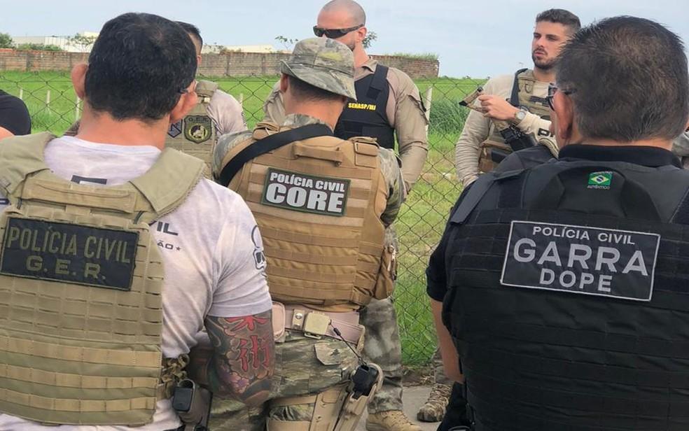 Policiais participando da operação Anúbis — Foto: SSP/SE/Divulgação