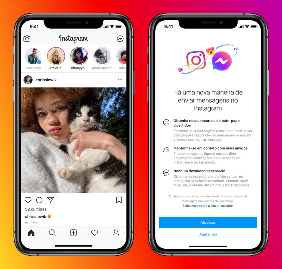 Instagram vai avisar da integração entre os aplicativos. — Foto: Divulgação/Facebook