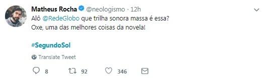 """Usuário do Twitter elogia trilha sonora de """"Segundo Sol"""" (Foto: Reprodução / Twitter)"""