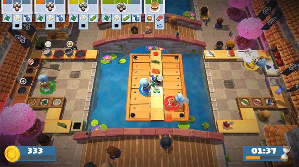 Overcooked! 2 é um divertido e caótico game no qual jogadores precisam administrar diversas cozinhas peculiares — Foto: Reprodução/Epic Games Store