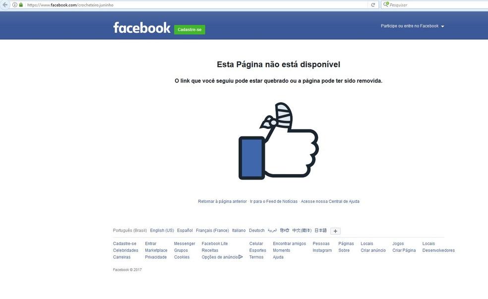 Perfil do adolescente que ensina crochê foi removido do Facebook  (Foto: Reprodução)