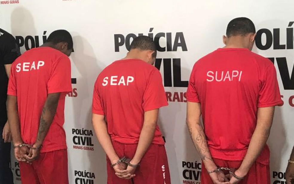 -  Polícia Civil apresentou os envolvidos em cinco crimes contra seis vítimas em Juiz de Fora  Foto: Polícia Civil/Divulgação
