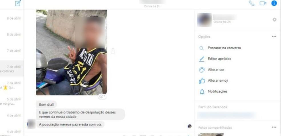 Chat investigado pela polícia fala em execuções da milícia de Queimados — Foto: Reprodução