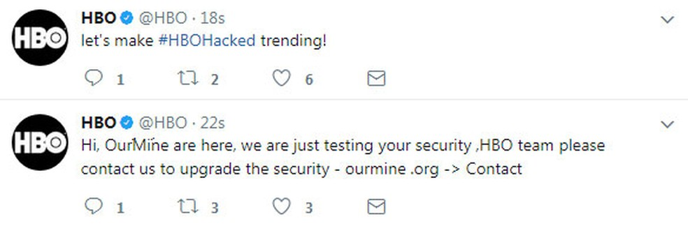 Mensagens de hackers anunciavam invasão de contas da HBO em redes sociais (Foto: Reprodução/Twitter/HBO)