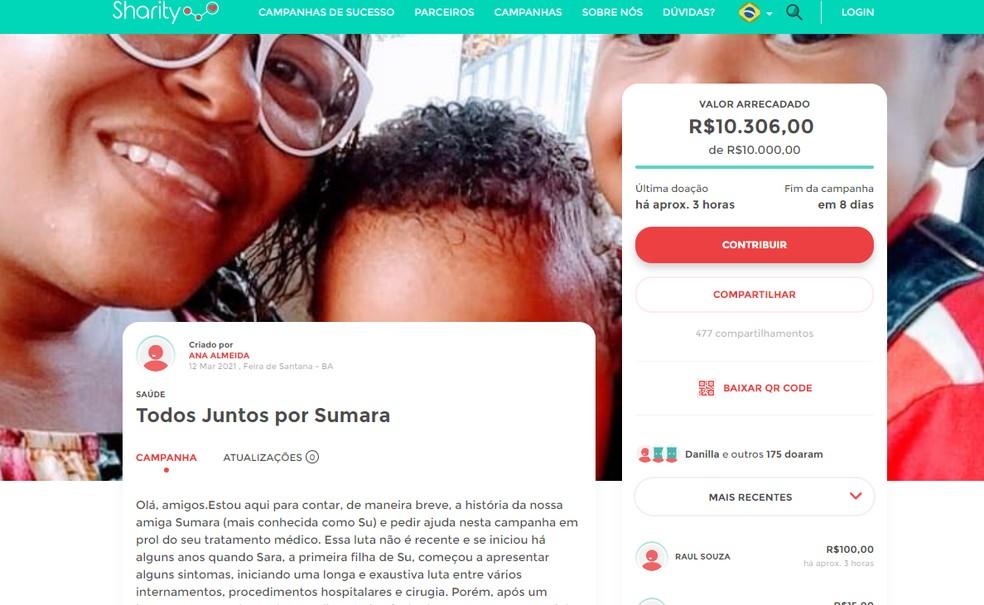 Uma campanha foi lançada para arrecadar dinheiro para o tratamento de Sumara Araújo — Foto: Reprodução/TV Bahia