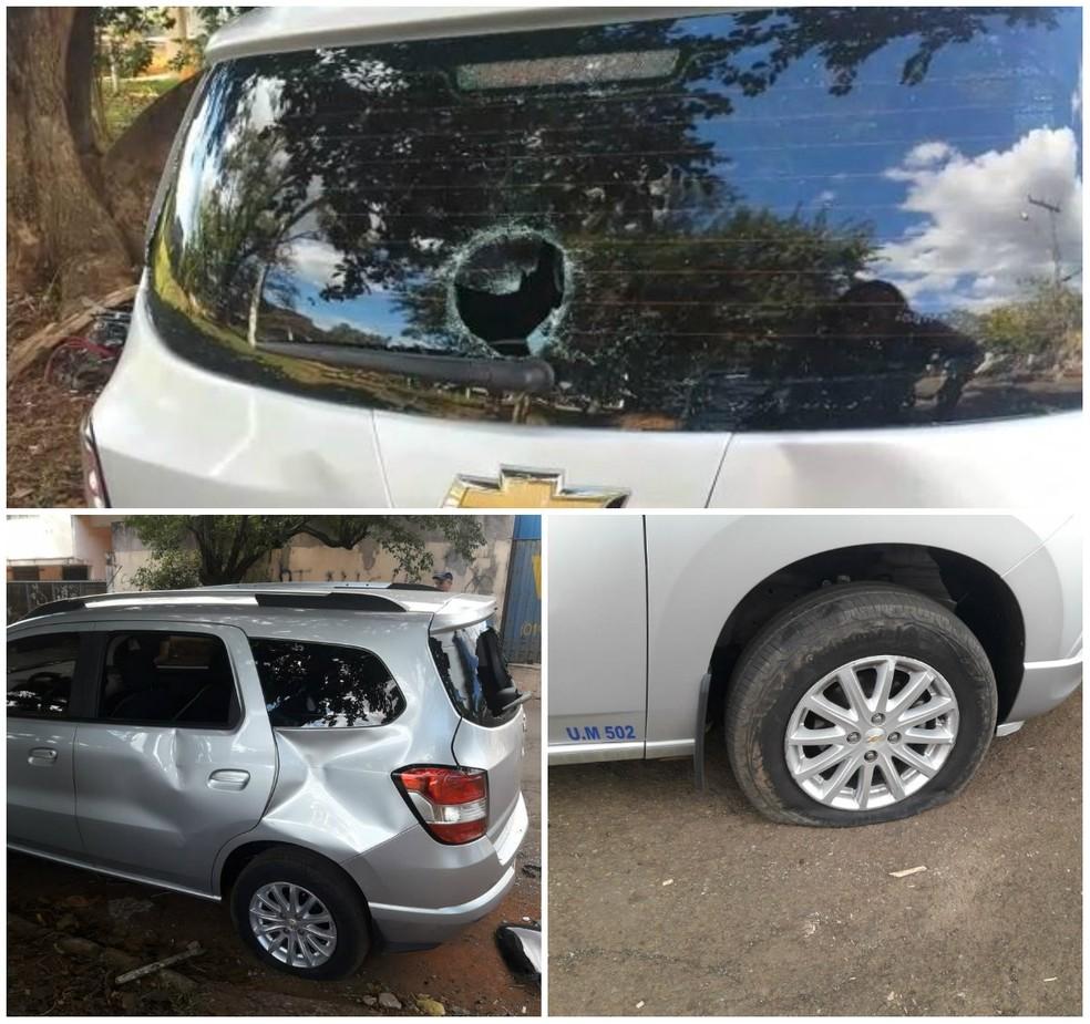 Carro da reportagem da EPTV ficou destruído durante agressão em Leme (Foto: Arquivo Pessoal)