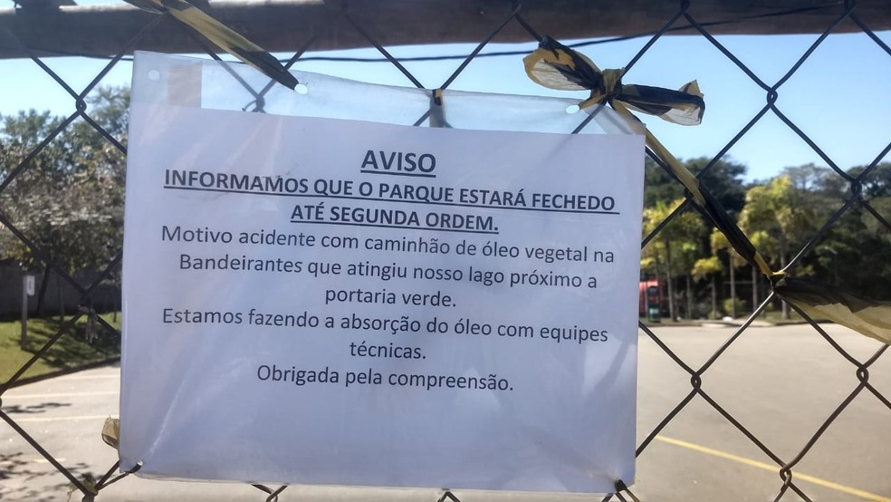 Parque é interditado e animais são transferidos após carga de óleo contaminar água em Jundiaí — Foto: Lísias Sena/TV TEM