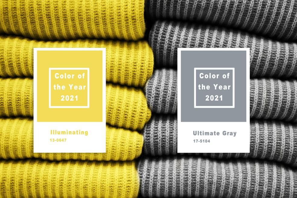 'Illuminating' e 'Ultimate Gray' são as apostas da Pantone para 2021 — Foto: Divulgação
