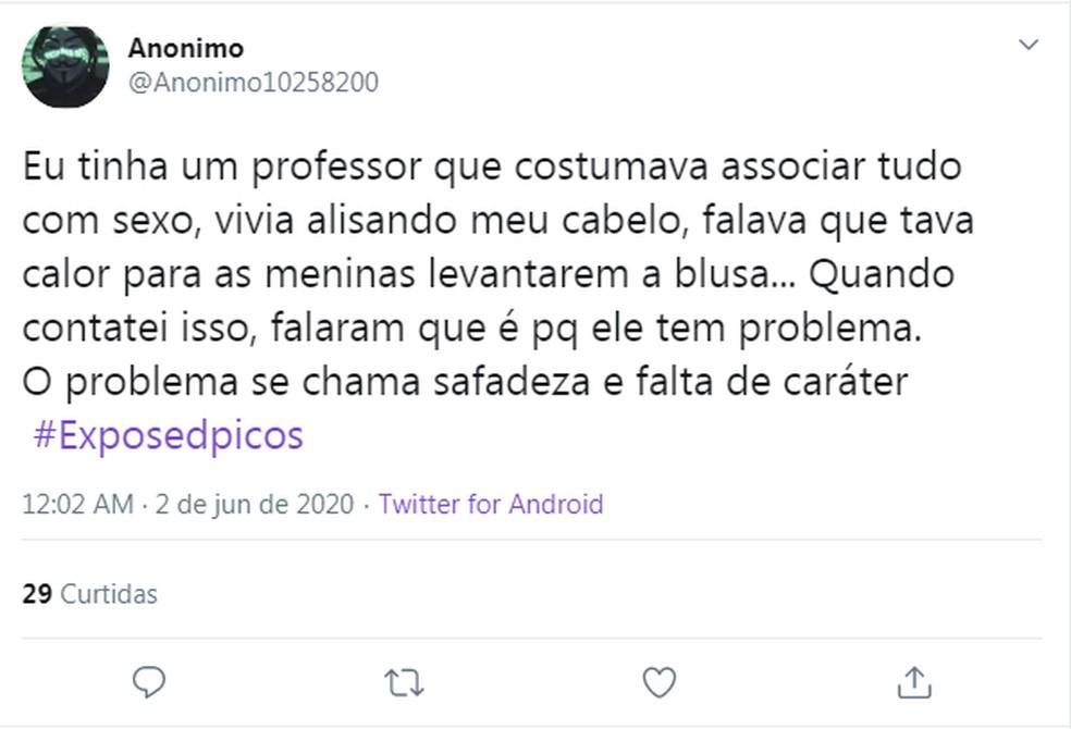 Estudantes de Picos (PI) também fizeram denúncias — Foto: Reprodução/ Twitter