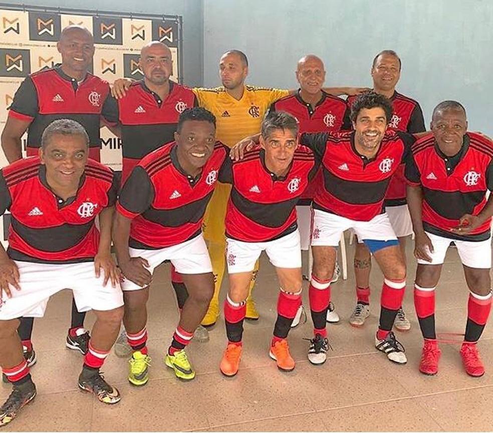 Foto tirada antes da pandemia para lembrar o tempo em que Bruno Cabrerizo jogou no Flamengo — Foto: Reprodução/Instagram