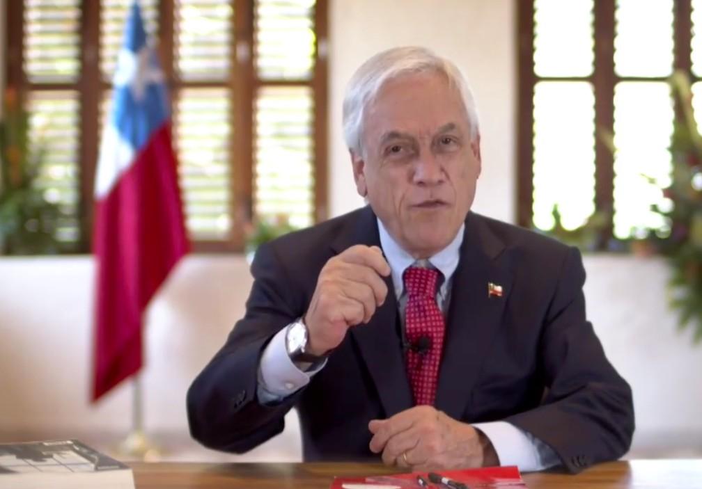 Presidente do Chile, Sebastián Piñera, em um pronunciamento em vídeo em 27 de setembro de 2021 — Foto: Reprodução/Governo do Chile
