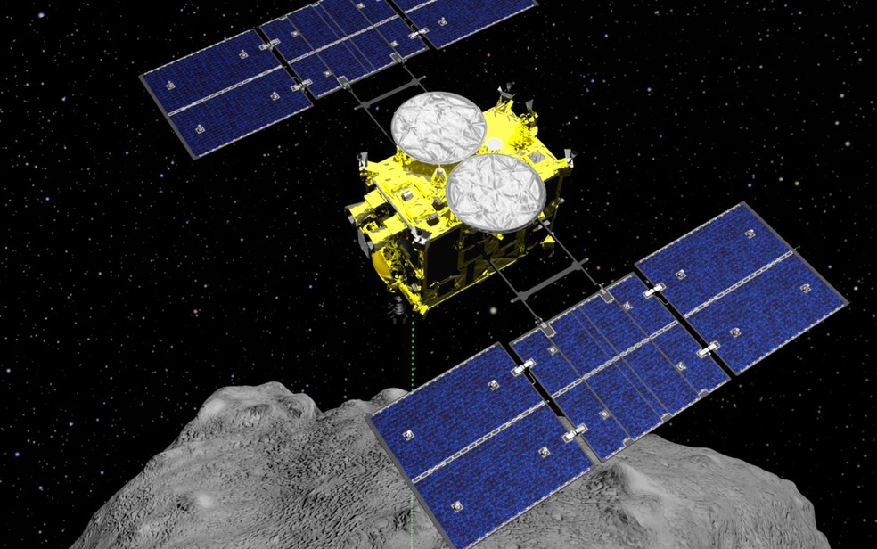 Imagem de computador da sonda Hayabusa2 — Foto: ISAS / JAXA / via AP Photo