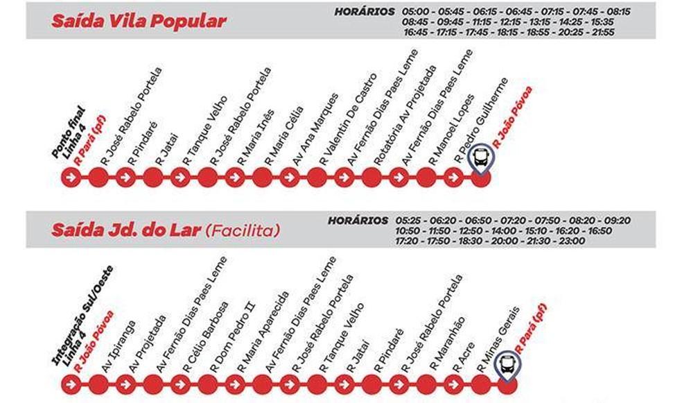 Linha 4 - Vila Popular/Jardim do Lar (Direto) (Foto: Prefeitura de Várzea Paulista/Divulgação)