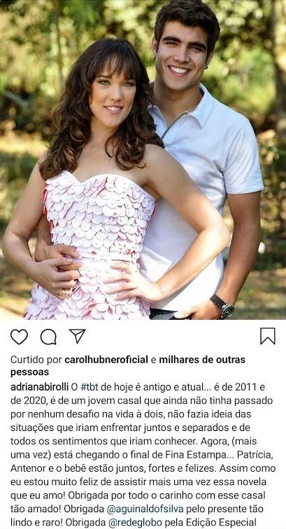 Adriana Birolli agradece seguidores pelo carinho durante exibição de 'Fina estampa' (Foto: Reprodução)