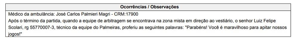 Árbitro do Dérbi cita Felipão na súmula de Palmeiras e Corinthians — Foto: Reprodução