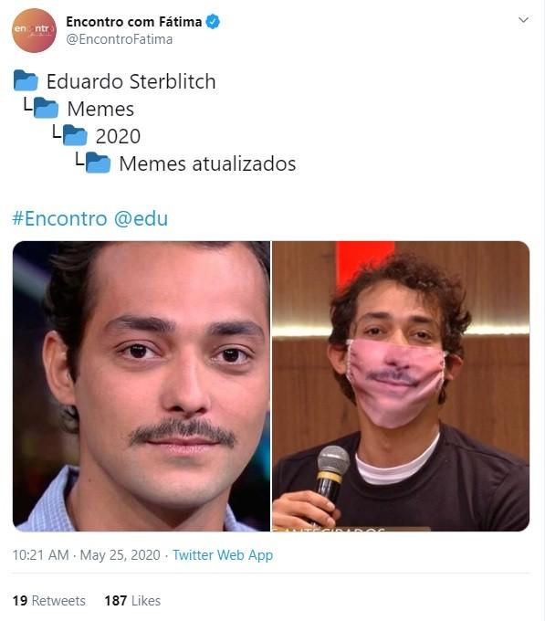 Eduardo Sterblitch foi ao 'Encontro' com máscara inspirada em meme (Foto: Reprodução Twitter)