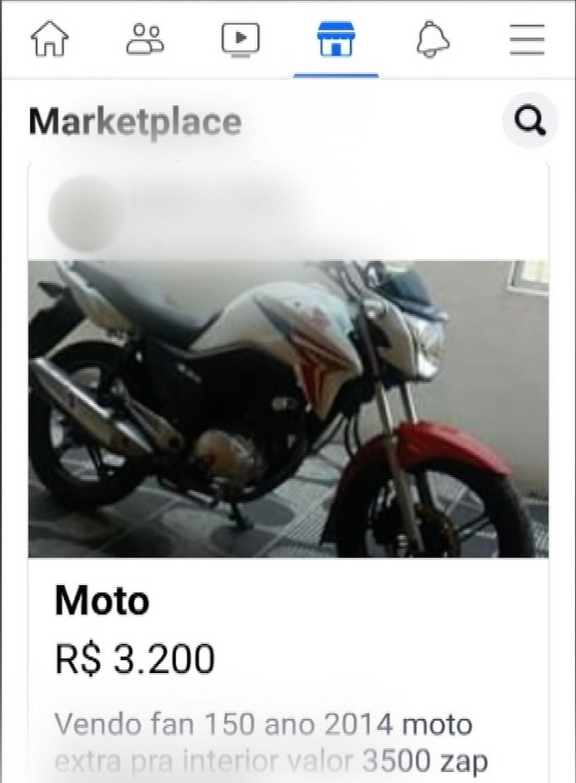 Moto roubada foi anunciada na internet por menos da metade do preço — Foto: Reprodução/Inter TV Cabugi