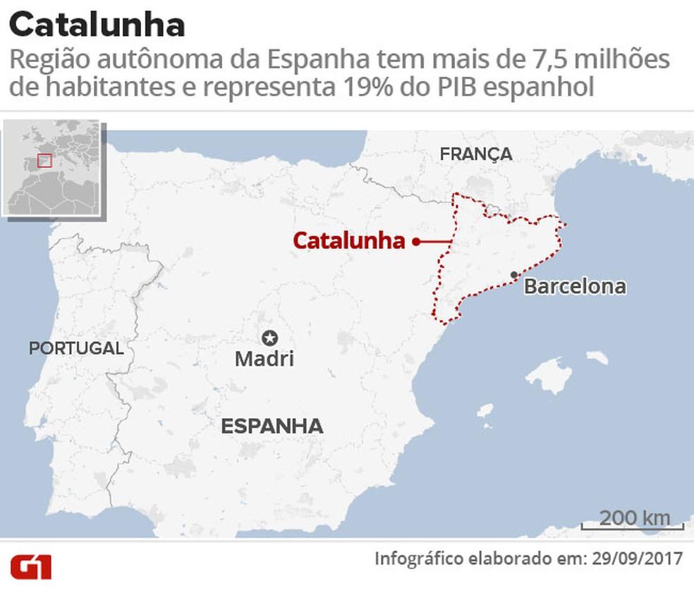 Mapa Catalunha (Foto: Arte/ G1)