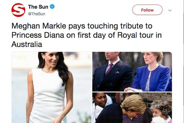 Um tuíte da imprensa internacional mostrando as peças utilizadas pela atriz Meghan Markle em homenagem a Lady Di, mãe do príncipe Harry (Foto: Twitter)