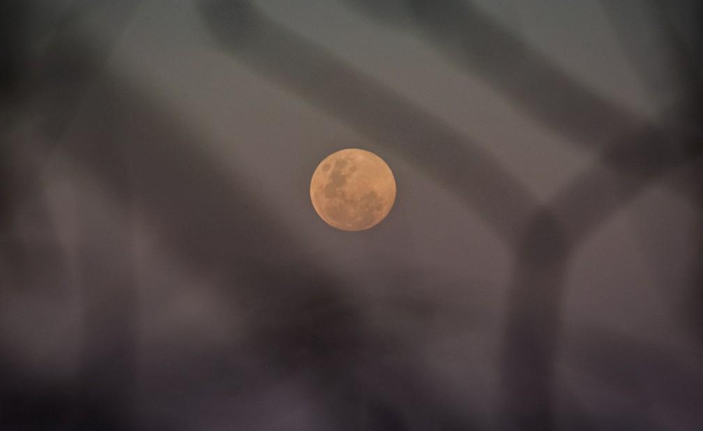 Superlua registrada na noite deste domingo (8) — Foto: Stephanie Fonseca