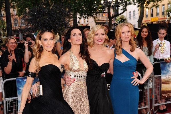 O elenco principal de Sex and the City, com Sarah Jessica Parker e Kim Cattrall (Foto: Getty Images)