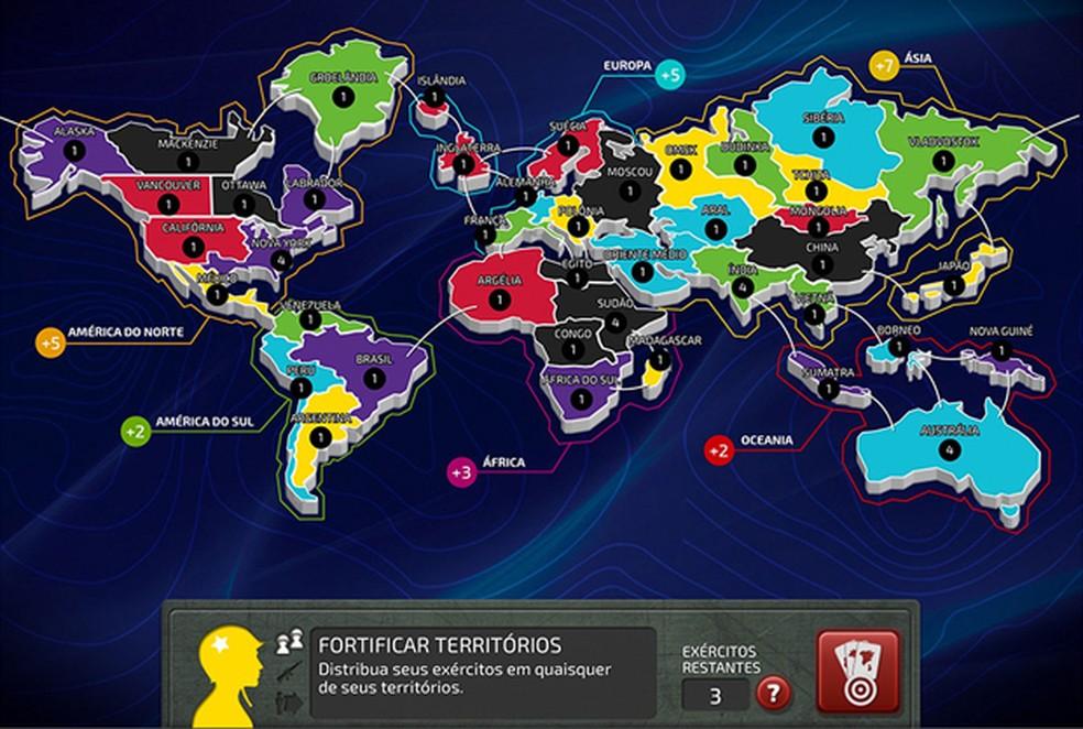 Jogo de tabuleiro 'War' agora pode ser jogado no tablet ou computador (Foto: Divulgação/Grow)