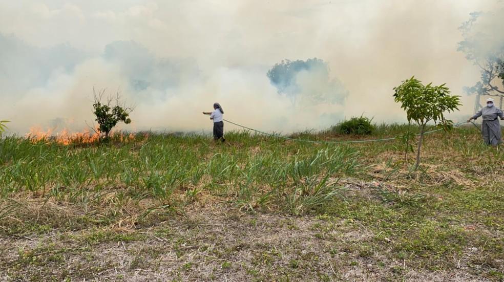 Mulheres lutaram contra fogo até as equipes do Corpo de Bombeiros chegarem — Foto: Paulo Sadat/Sistema Verdes Mares