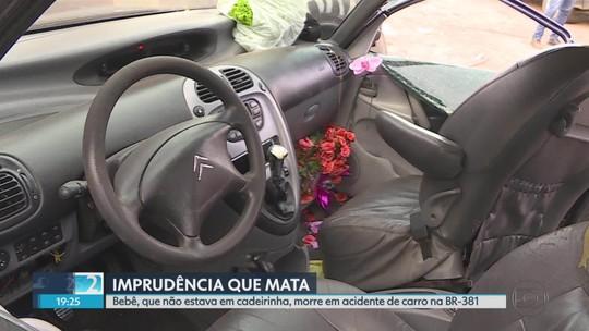 Bebê morre em acidente na BR-381 em Sabará, na Grande BH