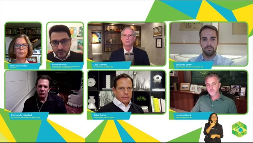 Presidenciáveis em conferência — Foto: Reprodução