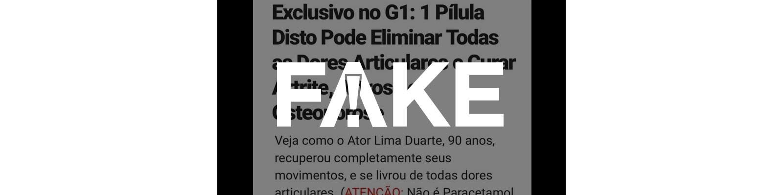 É #FAKE que Lima Duarte fez anúncio de pílula que cura qualquer tipo de dor nas articulações