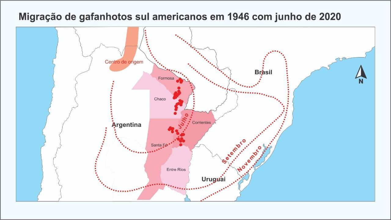 Mapa elaborado pelo entomologista da Universidade Federal de Santa Maria, Jerson Guedes, aponta semelhanças entre o deslocamento da nuvem atual com o ano 1946 (Foto: Reprodução)