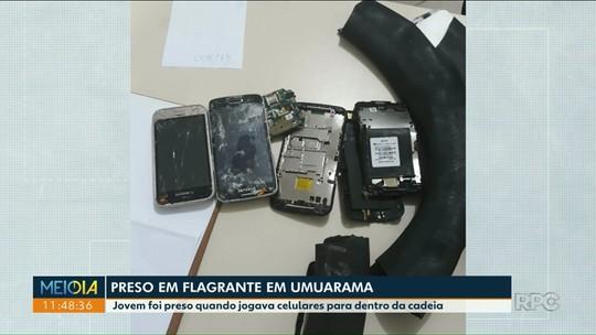 Jovem foi preso quando jogava celulares pra dentro da cadeia