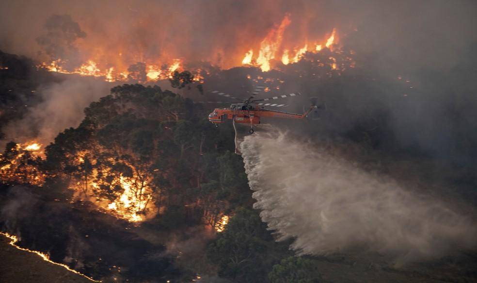 Imagem aérea do incêndio em East Gippsland, na Austrália — Foto: Governo Estadual de Victoria