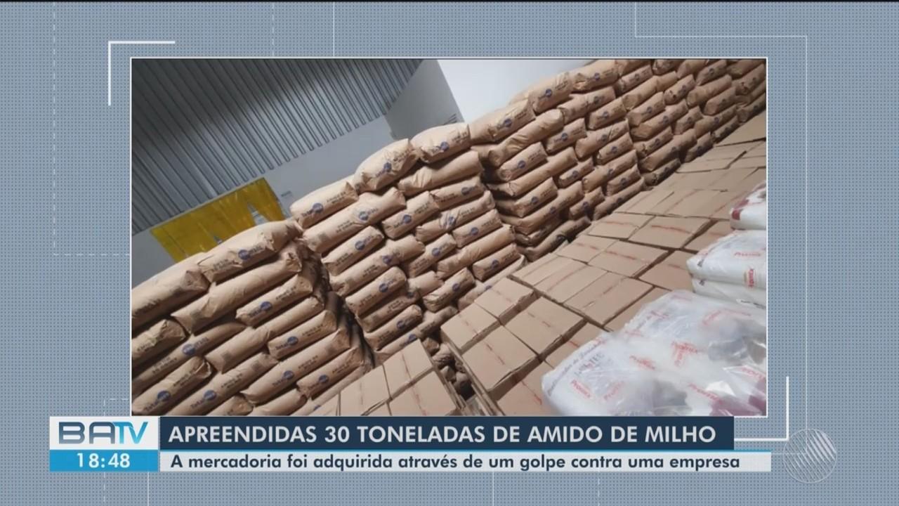 Cerca de 30 toneladas de amido de milho são apreendidas pela polícia em Feira de Santana