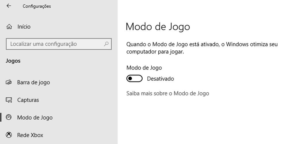 Desative o Modo de Jogo do Windows — Foto: Reprodução